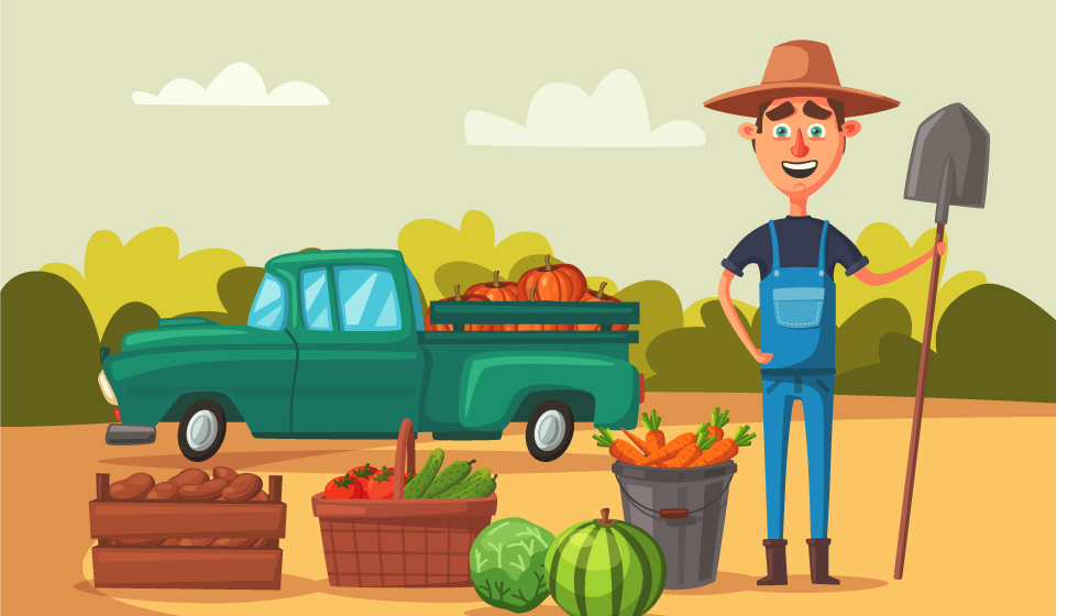 Illustration of a farmer with a shovel by his fruits and veggies with a truck behind him