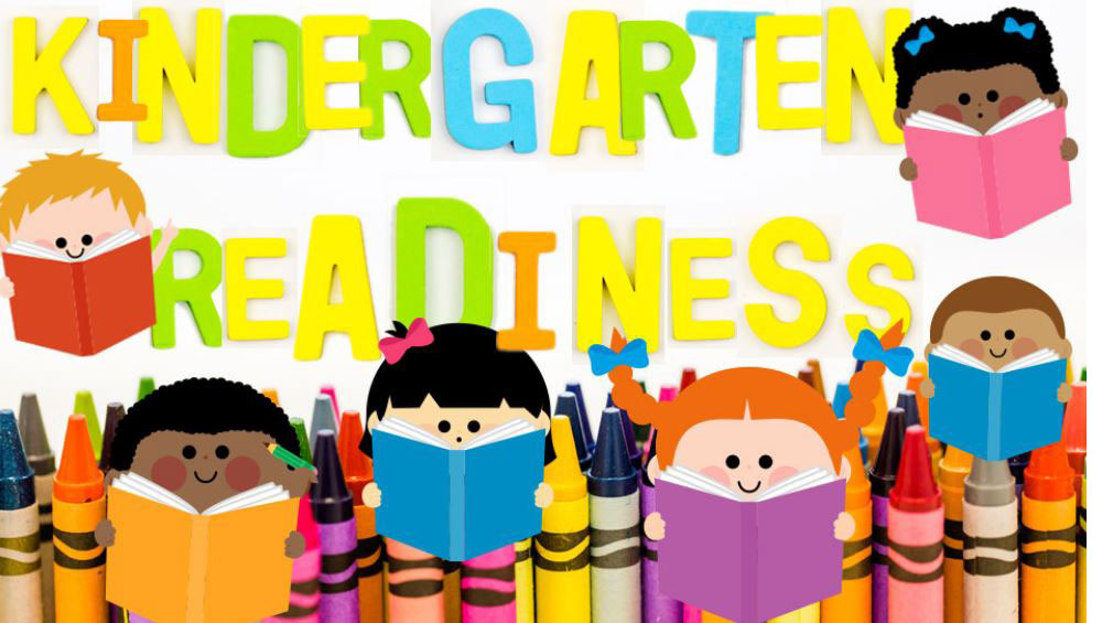 graphic of kids reading books in front of the words kindergarten readiness